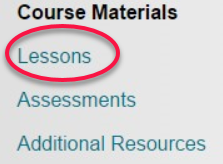Course menu with Lessons outlined in red