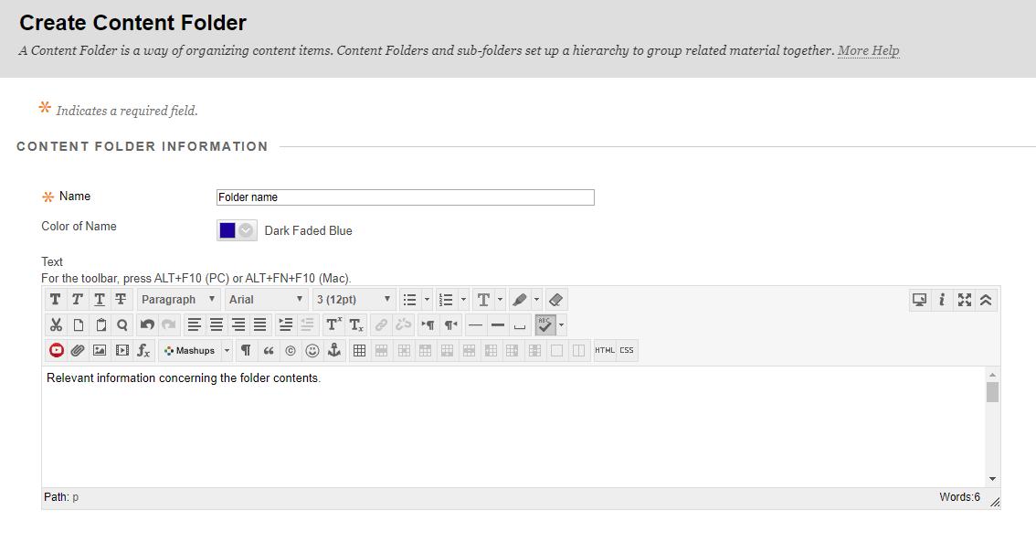 Create content folder options including folder name an relevant information