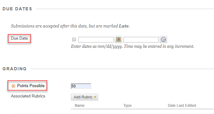 assignment settings area with due date and points possible outlined in red