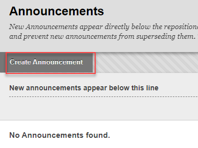 Announcements page with create announcement outlined in red