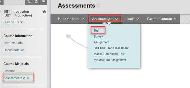 course menu with assessments, assignments and test outlined in red