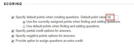 question settings with the points value outlined in red