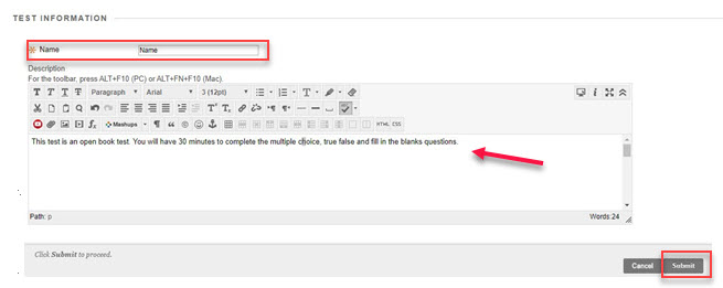 Test information editor with name, description and submit highlighted in red
