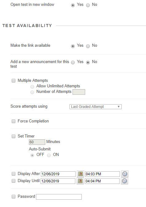 Test options window