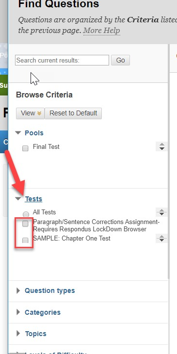 Expand the test category, and select the test to find questions.