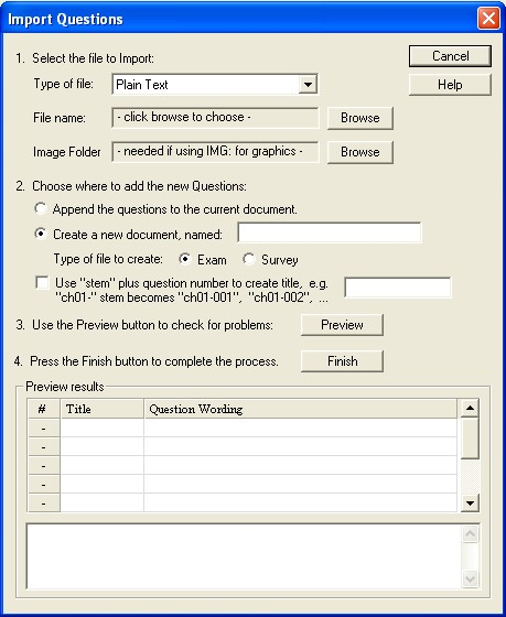 Import Questions dialogue box.