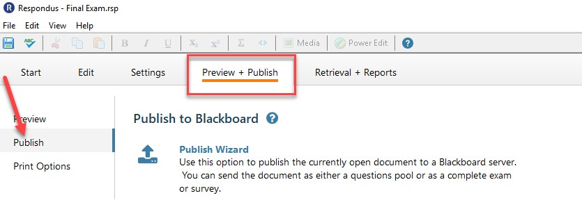 Arrow pointing to the publish link on the preview and publish tab in respondus.
