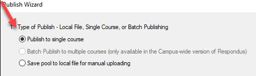 arrow pointing to publish to a single course