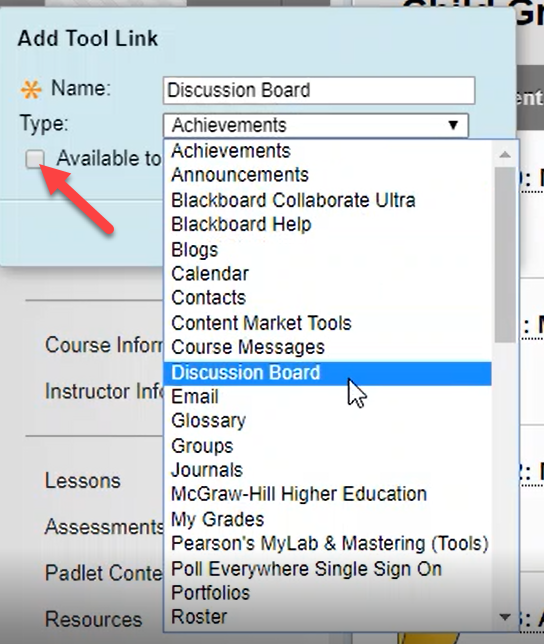 Selecting tool from the drop down list