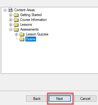 Select an area of your course that you would like to add your test.