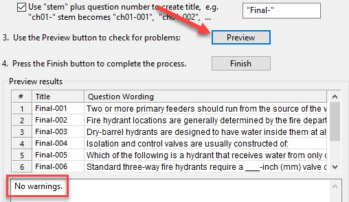 Arrows pointing to preview option to ensure that there are no errors with the impending question import.