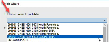 Select your course from the drop down list.