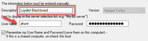 Setting your description and username for your blackboard server
