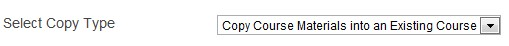 Copy Course materials in an Existing Course in the drop down options