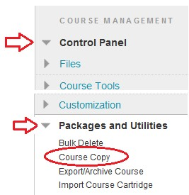 Course copy highlighted in the Packages and Utilities menu