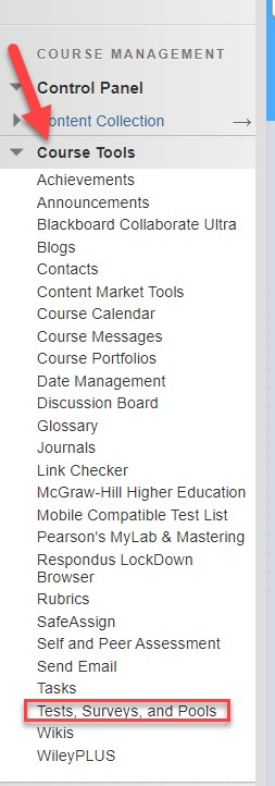 Course tools options with Test Surveys and Pools outlined in red