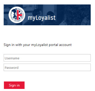 myloyalist log in page with username and password