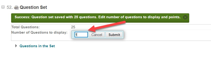 Identify the number of questions to display in the test.