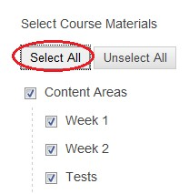 Options for selecting course materials with select all circled in red