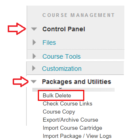Package and Utilities with the Bulk Delete option outlined in red