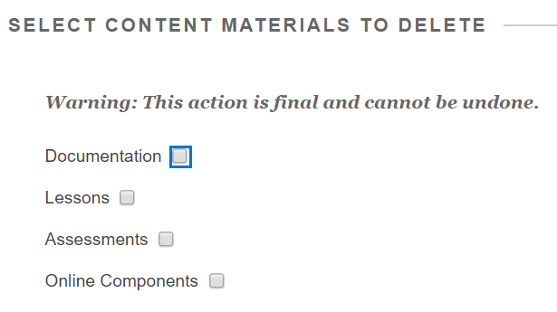 Options for deleting materials