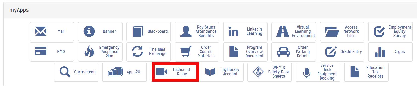 Techsmith Relay Icon outlined in red on the my loyalist portal