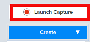 Launch capture option highlighted in red