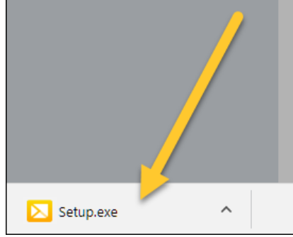 Setup.exe folder with an arrow pointing to it