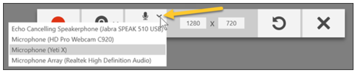 Microphone options in the drop down menu