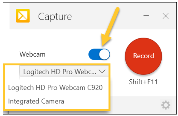 Webcam options highlighted on the Capture screen