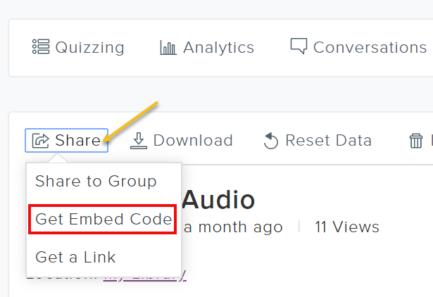 Video editing options with Share and Get Embed Code highlighted