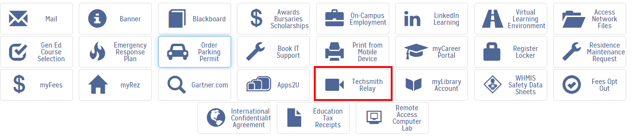 my loyalist log in menu page with techsmith Relay outlined in red
