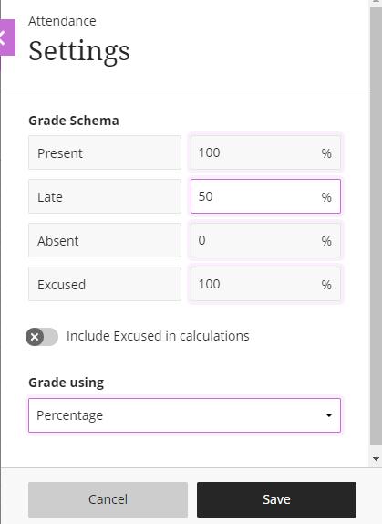 Grading schema options